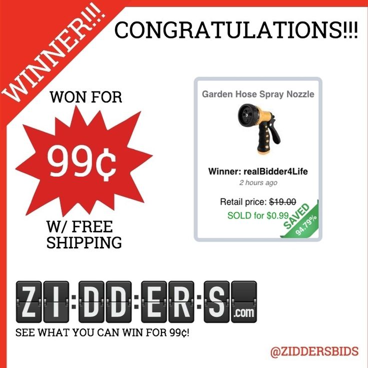 #Congratulations realBidder4Life for winning this Garden Hose Spray Nozzle for only 99¢! Want to #win your own? Check out www.zidders.com #zidderswinners  See all of our items for 99¢ w/ #FREE shipping!
