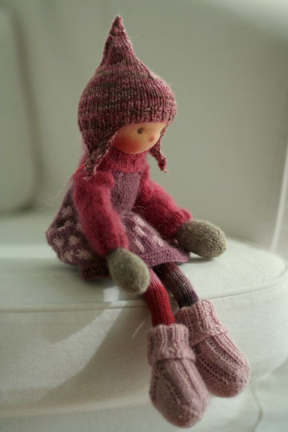 """Reserved for Ania-Knitted doll Caia 14"""" by Peperuda dolls, Handmade art doll, Waldorf doll, soft doll"""
