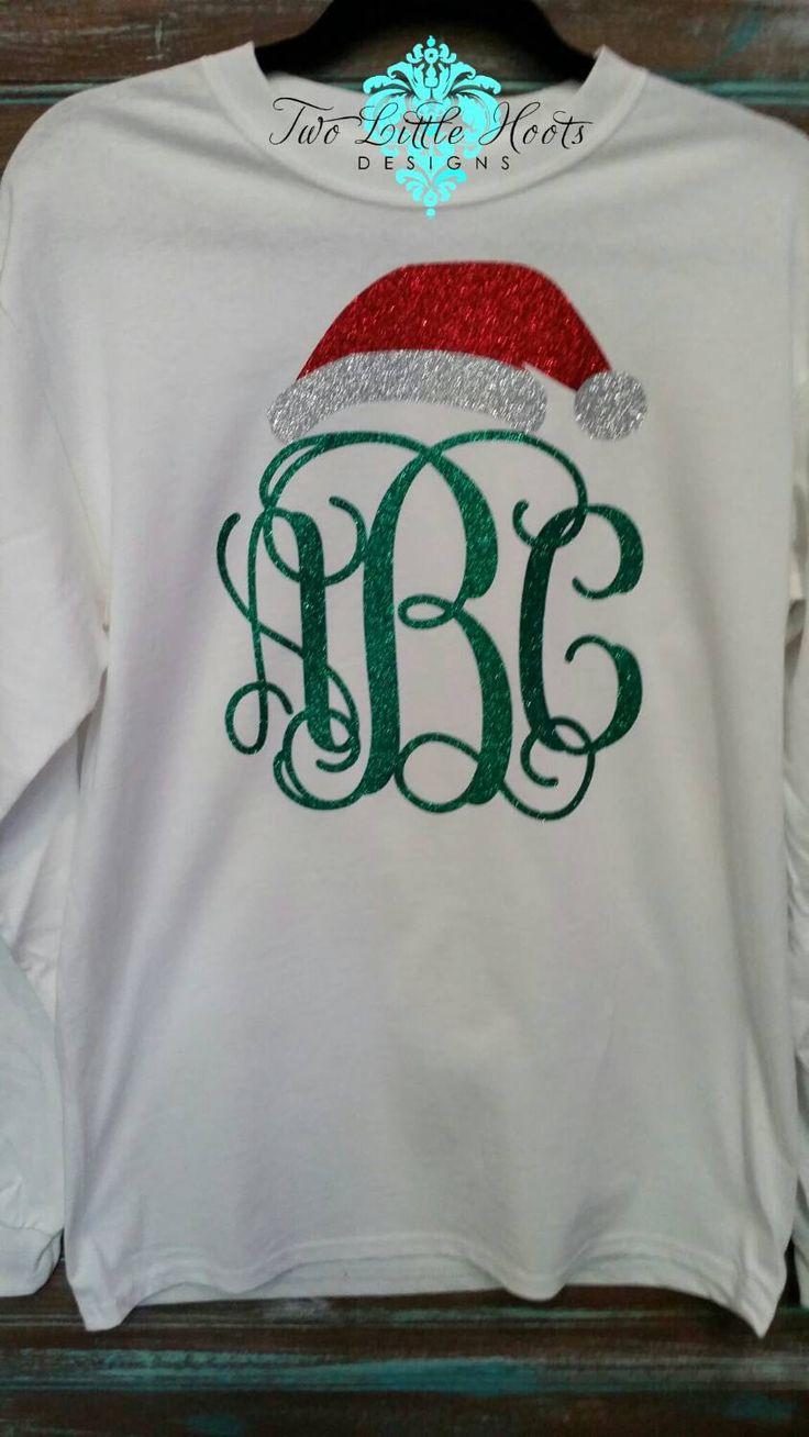 Santa Hat Glitter Christmas Monogram (Youth and Toddler Long Sleeve) by TwoLittleHootsDesign on Etsy