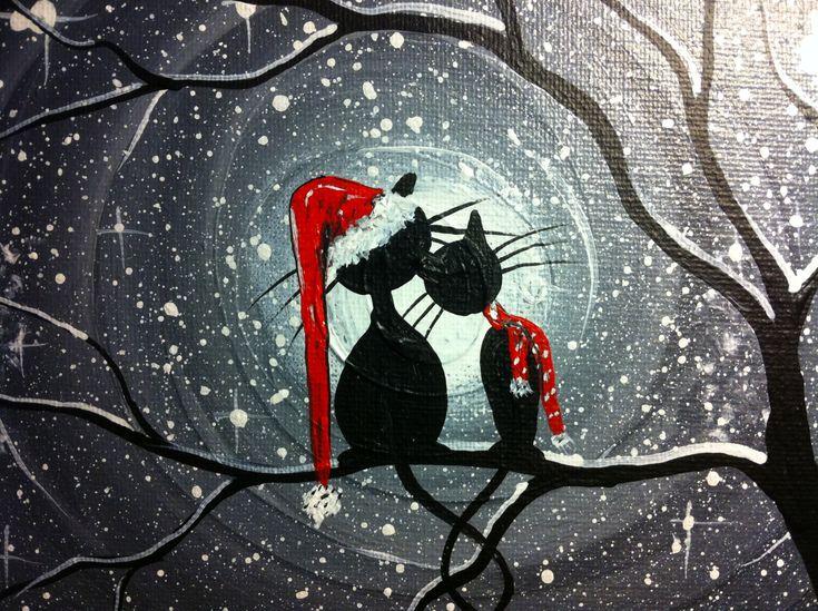 Original Whimsical Cat PaintingA Winters Tail  by MichaelHProsper, $28.00