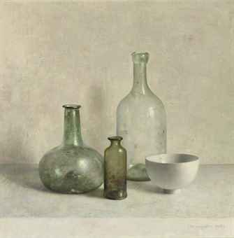 Still life by Dutch Painter: Henk Helmantel  (1945). Antique glass bottles in the sunlight.