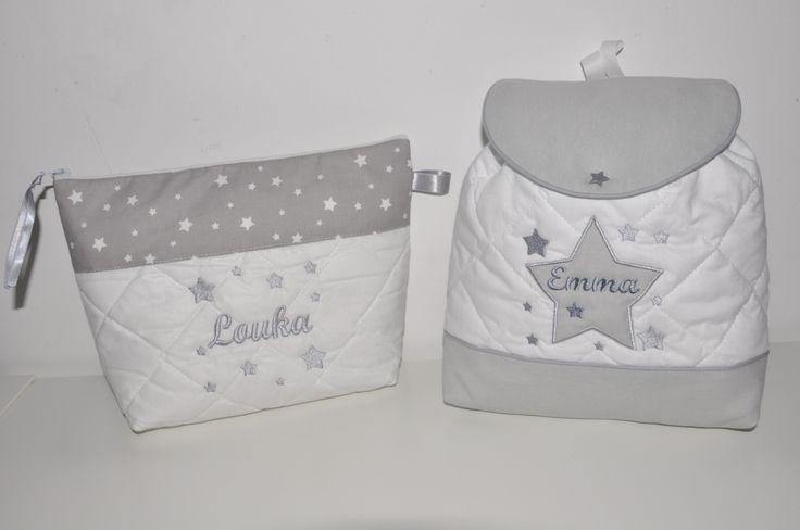 Box cadeau:Trousse de toilette enfant ou adulte ou bébé étoiles brodéés personnalisées+sac à dos : Puériculture par lbm-creation