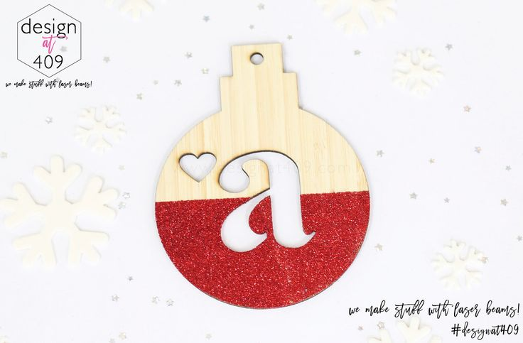 Initial With Heart Christmas Tree Bauble 3 : Bamboo With Glitter : Design at 409