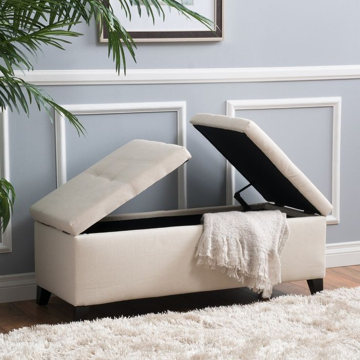 Live a clutter free life with the Christopher Knight Home Alfred Fabric Small Storage Ottoman Bench. Includes: One (1) ottoman Materials: Fabric, wood Color options: Beige Finish: Espresso Assembly re