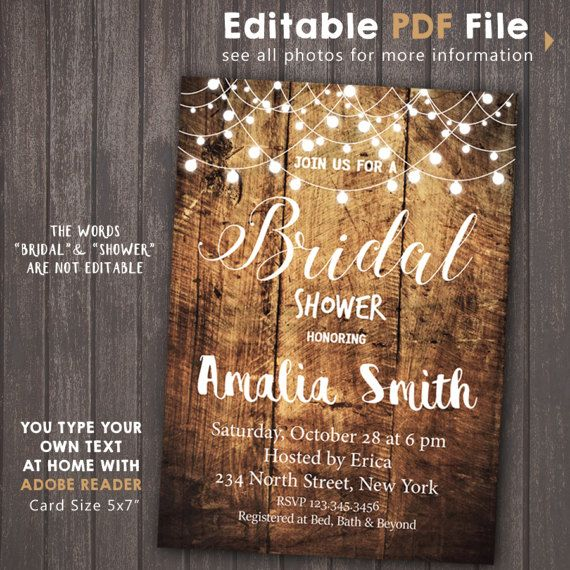 INSTANT DOWNLOAD Rustic String Lights Bridal Shower by Corollaa