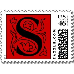 fancy red letter s postage stamps