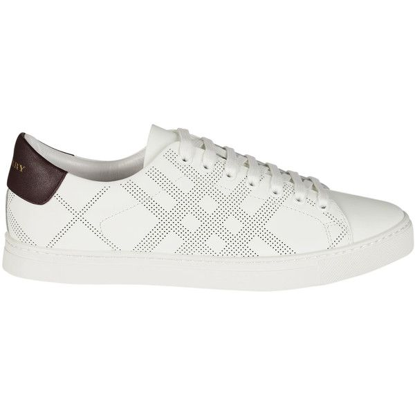 Perforated Check Sneakers (415 CAD) ❤ liked on Polyvore featuring men's fashion, men's shoes, men's sneakers, menshoessneakers, mens white sneakers, mens brown leather sneakers, mens lace up shoes, mens white shoes and burberry mens sneakers