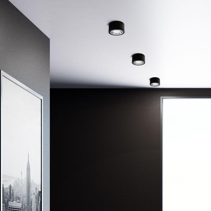 Flacher Decken-Aufbau-Spot Alu schwarz, schwenkbar, inkl. LED-Modul 5W warm weiss 230V