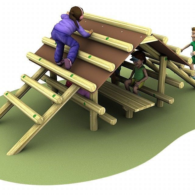 Our cabin climber is a fun playground equipment that is perfect as part of a wide trim trail.