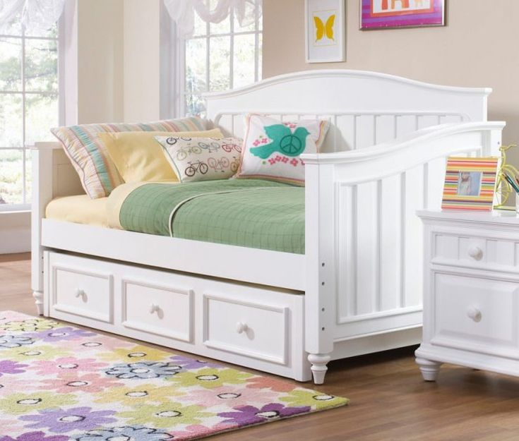 Full Size Daybed With Trundle Storage And White Nightstand Kids Bedroom Setskid