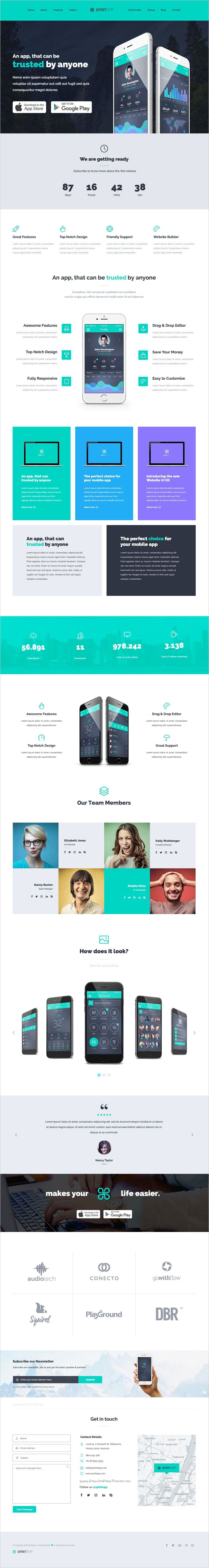 SpiritApp is a powerful #PSD App landing page #template with 500+ #Design Blocks…