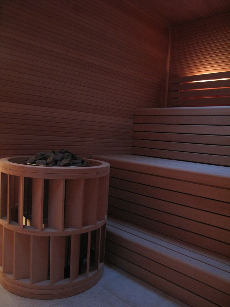 Unusual and striking sauna heater guard.