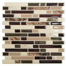 """Mosaik 10"""" x 10"""" Peel & Stick Mosaic Tile in Brown"""