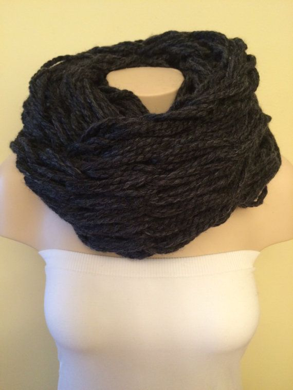 iScarf  Chunky Arm Knit Infinity Scarf  Charcoal Grey by iHooked