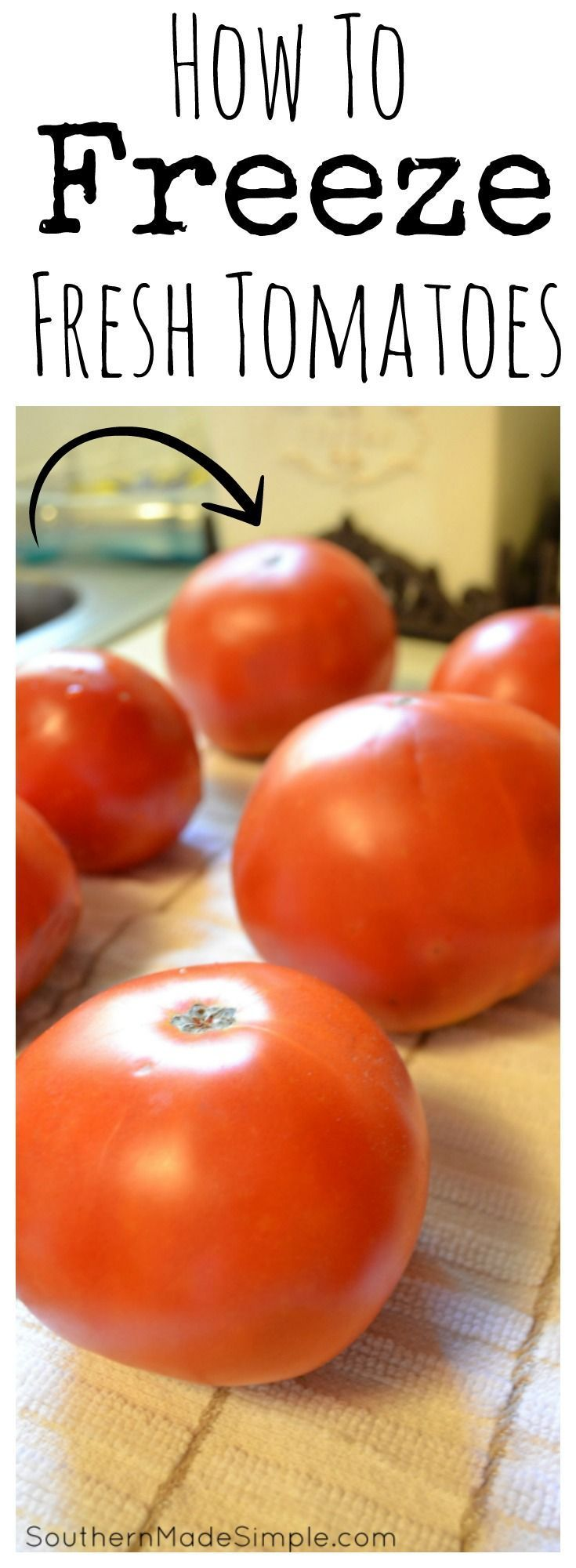 How to freeze fresh tomatoes - the easy way! A simple step-by-step tutorial on how to put up all of those extra tomatoes in your garden to use all year long!