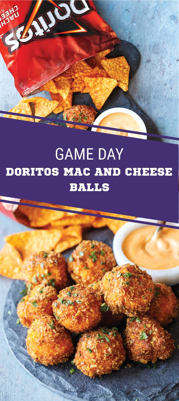 Sponsored by Frito-Lay. What's the game-winning secret to these game day Mac and Cheese Balls? DORITOS® Nacho Cheese Flavored Tortilla Chips of course! Here to help you score big at your Super Bowl LII party, this appetizer idea is packed with gooey chedd