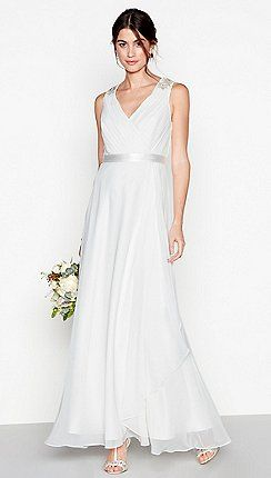 7908d38fe9f Debut - Ivory chiffon  Gemima  v-neck full length wedding dress ...