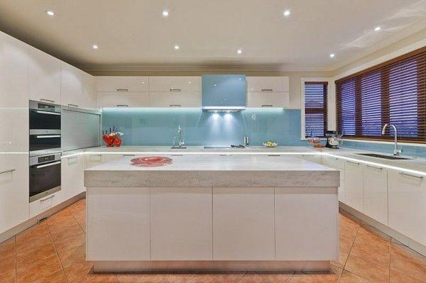 marble modern white #kitchen with aqua #glass #splashback