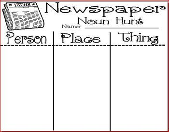 Have your students hunt through the newspaper to find examples of different nouns.  Have them sort the words they find onto the recording sheet by ...