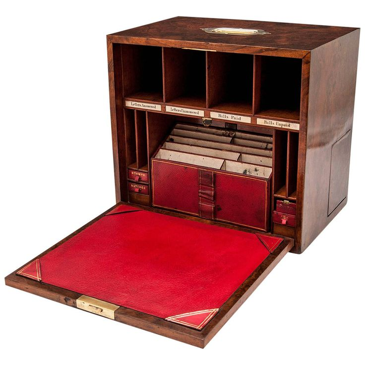 Burr Walnut Stationery Box | From a unique collection of antique and modern boxes at https://www.1stdibs.com/furniture/more-furniture-collectibles/boxes/