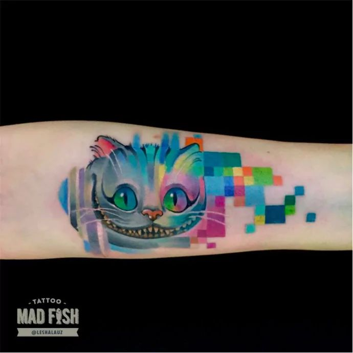 Lesha Lauz's tattoo style is completely unique! Her colourful, pixelated tattoo images are like no other.