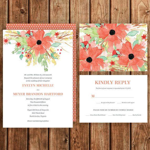Floral Wedding Invitation, Garden Wedding, Coral, Green, Teal, Mint, Polka Dot, Flowers, Hawaiian, Tropical, Save the Date, Bridal Shower
