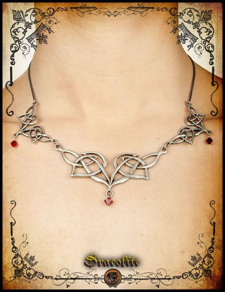 Elven necklace  handmade elf necklace with swarovski by Dracolite, $46.00