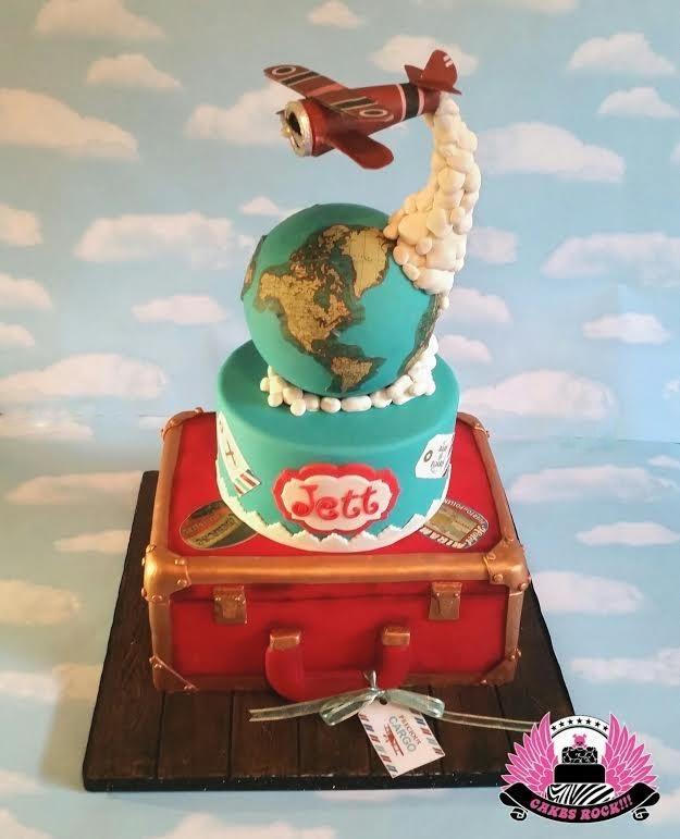 Precious Cargo Baby Shower Cake, antique plane theme, with antique suitcase, airplane cake, globe, travel, gravity defying