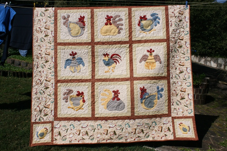 The Hen House - queen size quilt (2011): Size Quilt, Applies Quilts, Queen Size, Chicken Quilts, Hen Chicks Quilt, Things, Quilt 2011