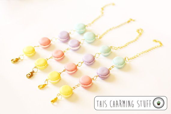 handmade polymer clay sweet jewelry,pastel macaroon bracelet,handmade polymer clay jewelry,miniature food,polymer clay food,kawaii jewelry