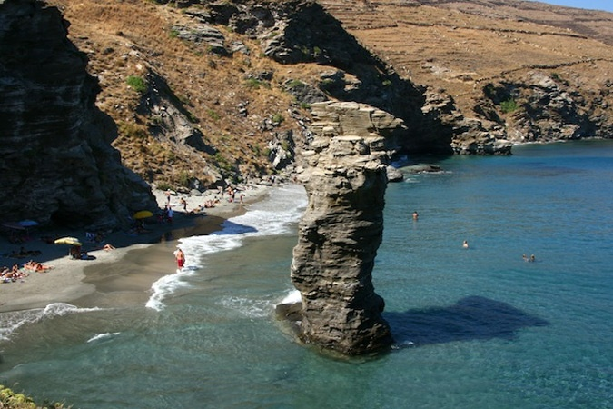"The beach called ""pidima Grias (jump of old lady)"". An amazing beach with an interesting story!  http://www.myandroshotel.com/beaches/southern-andros-beaches/batsi-korthi-ormos-chora-batsi-beach-route"