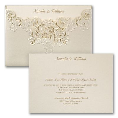 exquisite laser cutting gives this shimmer wrap an edge over all other wedding invitations inside - Ivory Wedding Invitations