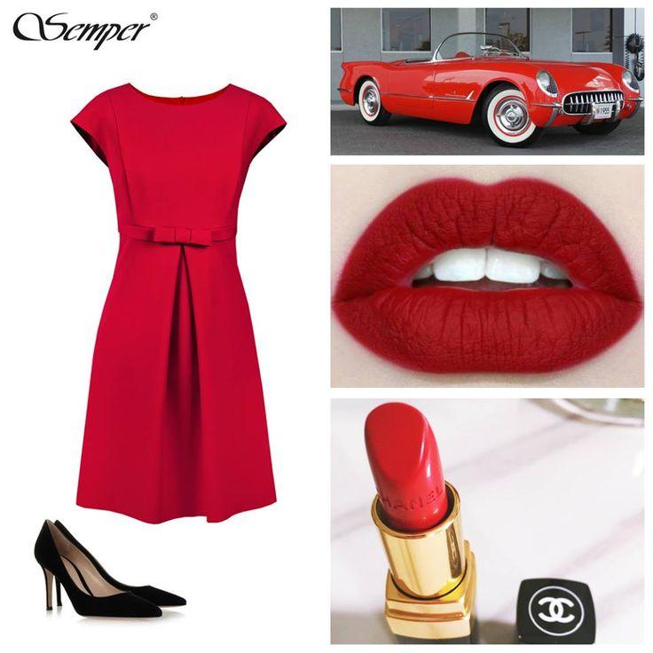 Koktajlowa sukienka w malinowym kolorze. Odcięcie pod biustem podkreślone szeroką wypustką i kokardką, doskonała dla kobiet o sylwetce typu A #lady in #red #cute #bow #dress #fashion http://bit.ly/SemperKelly