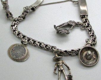 "Vintage Sterling Silver Charm Bracelet Mexican Theme Sombrero Matador Donkey Aztec Calendar Troubador South America 6 "" 925"