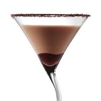 Perfect Chocolate Martini Recipe    Mix together and pour over ice  2 parts cold vodka  1 part dark Creme De Cacoa  squirt chocolate syurp    Dip martini glass in chocolate syurp and then in dark chocolate shavings  shake liqour mixture and strain into glass.    From What's Hot In Chocolate!