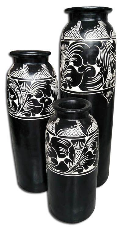 Handmade Balinese Lombok Black and White decor pots. Exporting now #bali decor# #bali pottery#