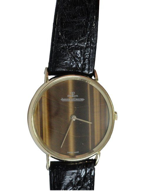 Vintage 18k yellow gold gents Jaeger LeCoultre watch. Swiss made, manual wind movement   http://www.liveauctioneers.com/item/25627320_yellow-gold-mens-jaeger-le-coultre-tiger-eye-wristwatch