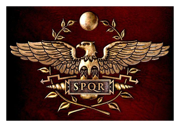 "Senates Populous Que Romanus, ""The Senate and the People of Rome""."
