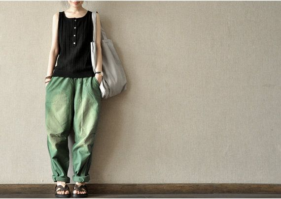 green  wide leg cotton pants / Harem Pants / green yellow  / loose Trousers for girls pants   AOLO-300 on Etsy, $73.03 CAD