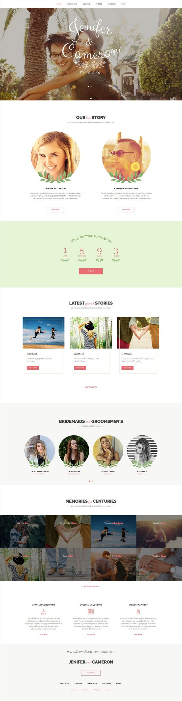 The wedding date is wonderful 6in1 #HTML #bootstrap theme for stunning #wedding website with RSPV, photo gallery, bridemades & groomsmans, wedding location, countdown to events dates download now➩ https://themeforest.net/item/the-wedding-date-responsive-wedding-html-template/19727160?ref=Datasata