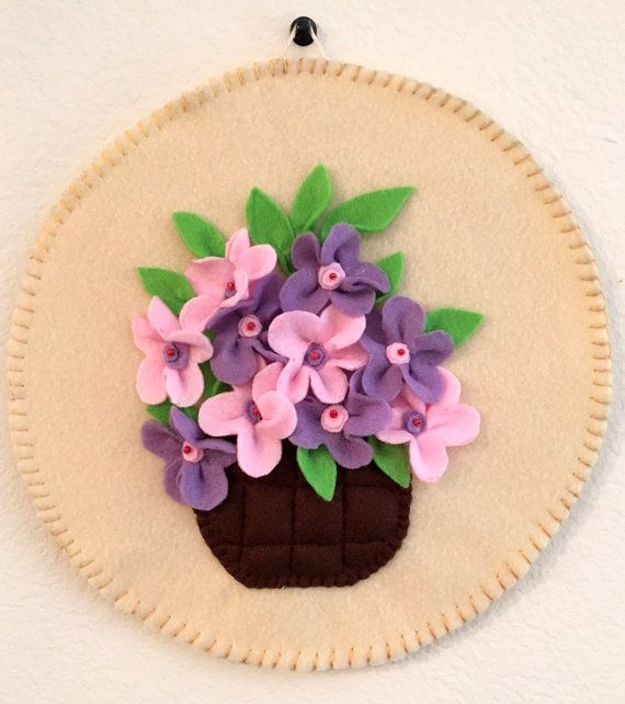 Felt flowers Wall hanging Pink and lavender flowers by DipChhShop
