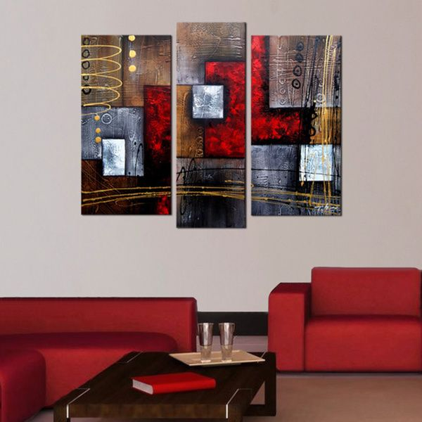 Abstract 407 3 piece gallery wrapped hand painted canvas art set