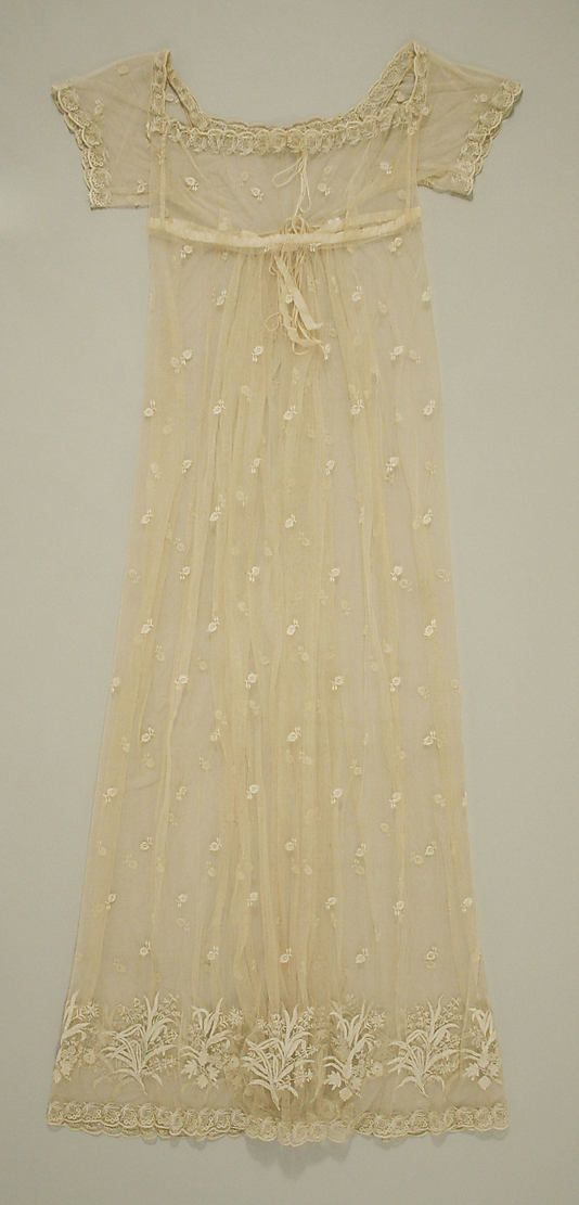 1805-10 dress, French. Silk, cotton. The Met, 1987.190.3