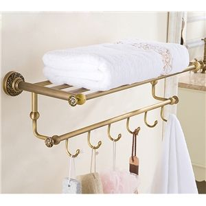 (EU Lager)Antik Messing Handtuchhalter mit Hakenleiste Badezimmer