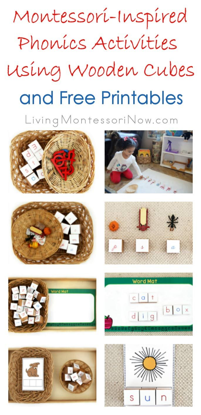 Wooden cubes can be used with free printables to create a 3-dimensional movable alphabet. It's perfect for a variety of hands-on phonics activities for preschoolers. Post includes free printables, lots of Montessori-inspired Spielgaben activities, and the Montessori Monday linky collection.