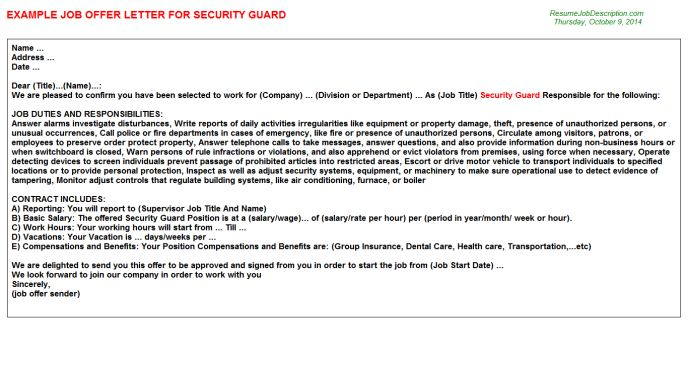 appointment letter format for security guard