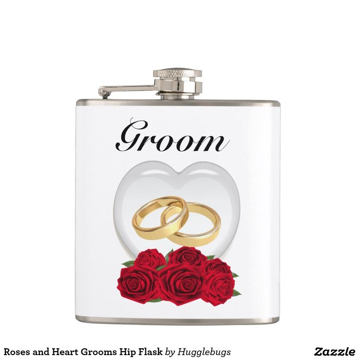 Roses and Heart Grooms Hip Flask