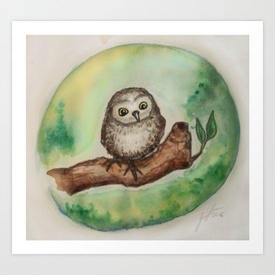 Baby Owl Art Print at https://society6.com/jennloop