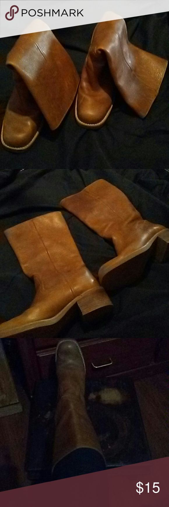 Caf high brown boots These books do have some scratchs on the leather. But u have to really have to look. They go halfway up to my knee. austin Shoes Heeled Boots