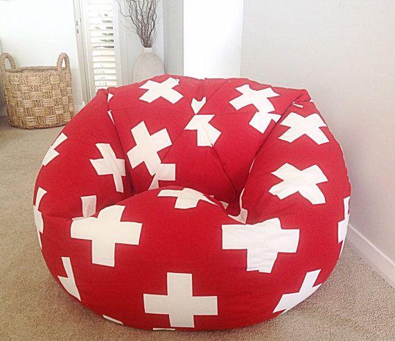 Bean Bag Kids Bean Bag, Teenagers, Adults Bean Bag Cover, Grey White Swiss Cross, Red Swiss Cross, Cobalt Blue Bean Bag Cover
